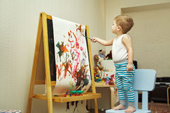 Little boy painting Royalty Free Stock Image