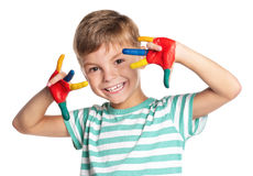 Little boy with paints on hands Royalty Free Stock Photo