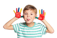 Little boy with paints on hands Stock Photography
