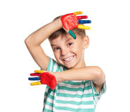 Little boy with paints on hands Royalty Free Stock Image