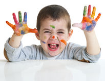 Little boy with paints on hands Stock Photo