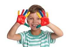 Little boy with paints on hands Stock Image