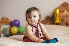 Little boy in pants with suspenders Stock Image