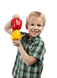 Little boy with paprika Royalty Free Stock Images