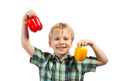 Little boy with paprika Stock Photo