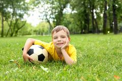 Little boy in the park with a ball Royalty Free Stock Photography