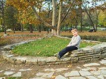 Little boy in park Stock Photo