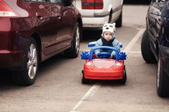 Little boy on parking Royalty Free Stock Images
