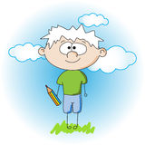 Little boy with pencil Royalty Free Stock Images