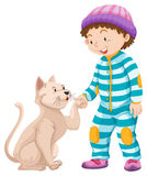 Little boy and pet cat Royalty Free Stock Images