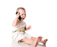 Little boy with the phone Stock Photos