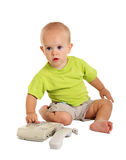 Little boy with the phone Stock Photography