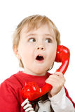 Little boy on phone royalty free stock photography