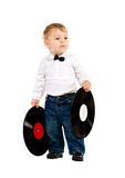 The little boy with phonograph records on white Royalty Free Stock Photography