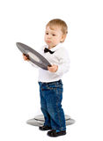 The little boy with phonograph records on white Stock Image
