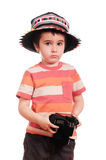 Little boy photographer in colorful Stock Image