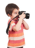 Little boy photographer with slr Stock Photos