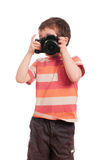 Little boy photographer with slr Royalty Free Stock Photos