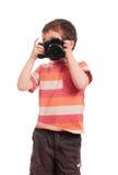 Little boy photographer with slr Royalty Free Stock Photos