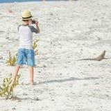 Little boy photographing iguana Stock Photography