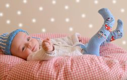 Little boy in the pillow Stock Photography