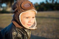 Little boy pilot Stock Image