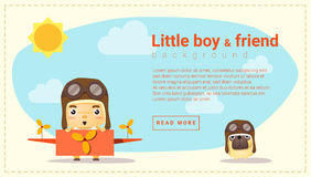 Little boy pilot and friend background Stock Photos