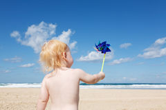 Little boy with pinwheel Royalty Free Stock Images