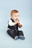 Little boy with pipeful, Stock Images