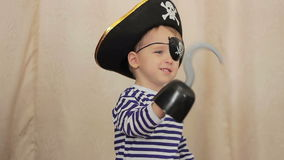 Little boy in a pirate costume stock video