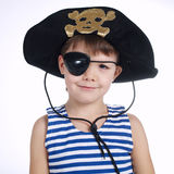 Little boy in pirate costume on white Royalty Free Stock Photography