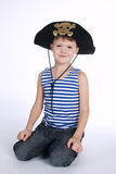 Little boy in pirate costume on white Royalty Free Stock Photos