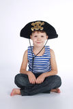 Little boy in pirate costume on white Royalty Free Stock Photo