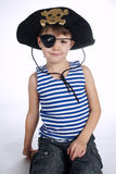 Little boy in pirate costume on white Royalty Free Stock Images