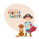 Little boy in pirate hat and cape standing with dog Royalty Free Stock Images