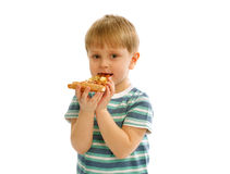 Little Boy with Pizza Royalty Free Stock Photos