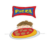 Little boy with pizza. Original hand drawn illustration of a little boy with pizza Royalty Free Stock Image