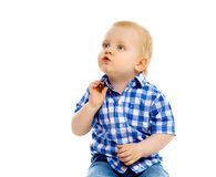 Little boy in a plaid shirt and jeans Stock Photo
