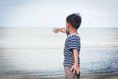 Little boy play at the beach Royalty Free Stock Images