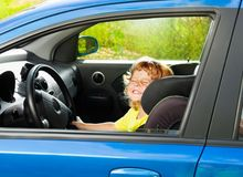 Little boy play big driving Stock Photo