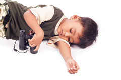 Little boy play binocular Stock Photos