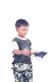 Little boy play binocular Stock Photo