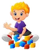 Little boy play bricks vector illustration