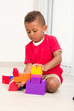 Little boy play construction set Royalty Free Stock Image