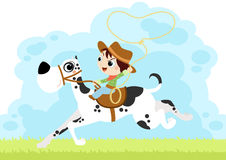 Little boy play Cowboy with a huge dog. Funny digital illustration about a young kind playing cowboys riding his great dane dog as an horse Stock Photos