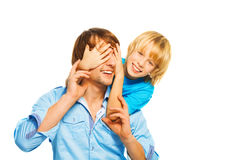 Little boy play with dad Stock Photo