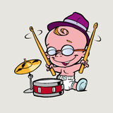 Little boy play drum Royalty Free Stock Photography
