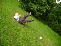 Little boy play football Royalty Free Stock Photos