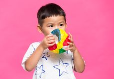 Little boy play with the japanese paper balloon. Asian young little boy royalty free stock photo