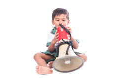 Little boy play megaphone Stock Photography